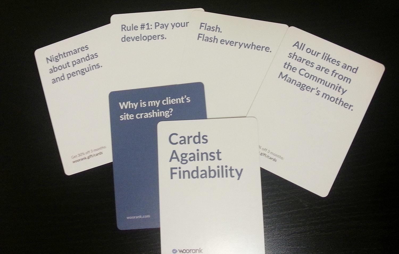 Juego de cartas: Cards against findability - Cartas contra el posicionamiento