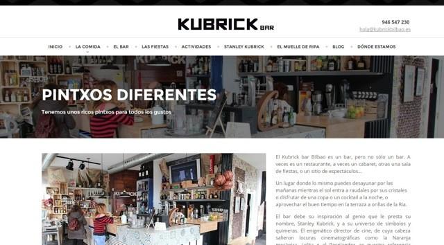 diseño web kubrick bar