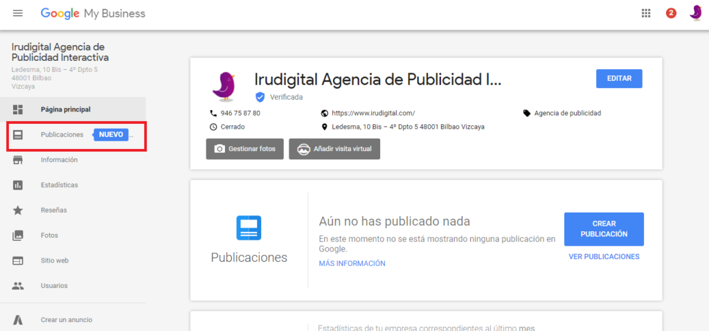 publicaciones de google my business