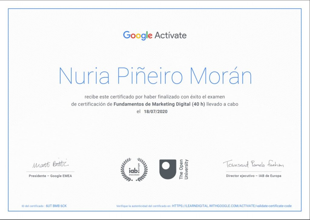 certificado de google activate
